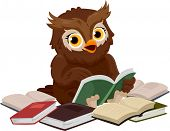 stock photo of bookworm  - Illustration of an Owl Smiling Happily While Reading a Book - JPG
