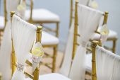 picture of marriage ceremony  - Floral arrangement set up for wedding ceremony - JPG