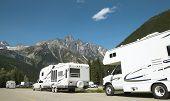 image of trailer park  - Motor homes in canadian rockies - JPG