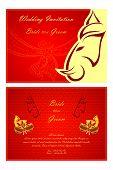 foto of indian wedding  - vector illustration of Indian wedding invitation card - JPG