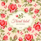 picture of rose  - Luxurious retro style floral greeting card  - JPG