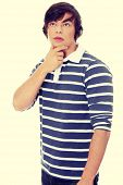 picture of thinkers pose  - Thoughtful young handsome man portrait - JPG