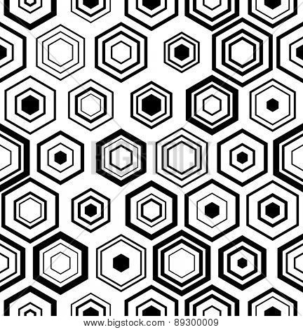 Seamless Hexagon Pattern. Vector Monochrome Background
