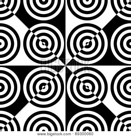 Seamless Circle and Triangle Background. Abstract Black and White Pattern