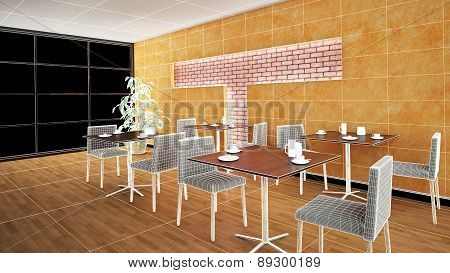 Interior Rendering Of A Bar With Textures