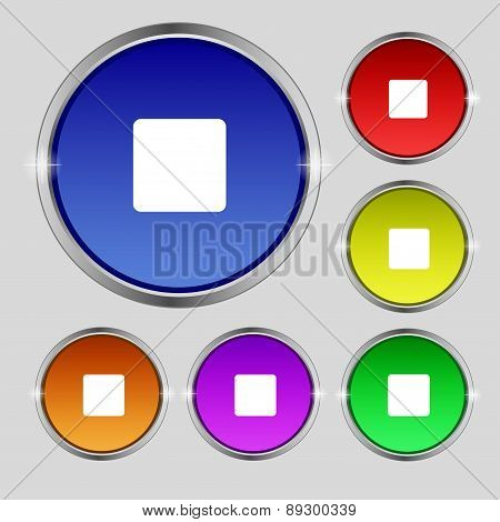Stop Button Icon Sign. Round Symbol On Bright Colourful Buttons. Vector