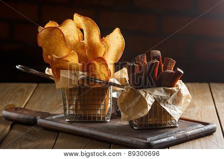Appetizing fried golden brown croutons
