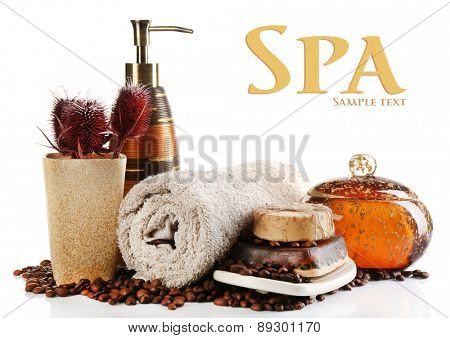Composition of cosmetic bottle,soap and towel, isolated on white