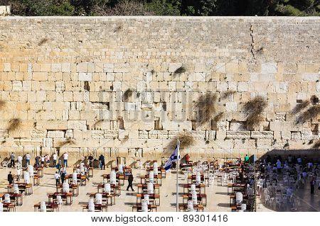 JERUSALEM, ISRAEL - JANUARY 9: People praying at western wall January 9, 2010 in Jerusalem, Israel.