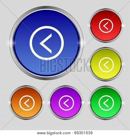 Arrow Left, Way Out Icon Sign. Round Symbol On Bright Colourful Buttons. Vector