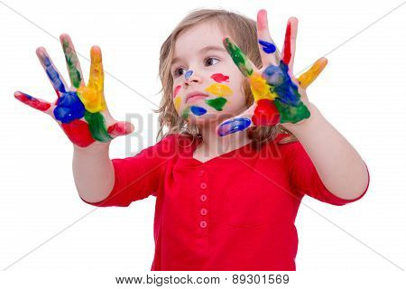 Cute Little Girl Playing With Colorful Paints