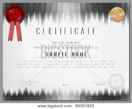 Gift Certificate, Diploma, Coupon, Award Of Course Completion Template With Black White Stripped Bac