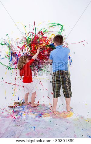 Siblings Painting Contemporary Art On White Wall