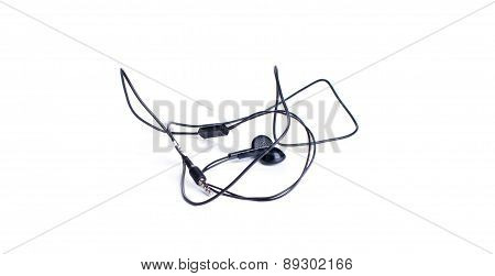Black Earphones On A White Background