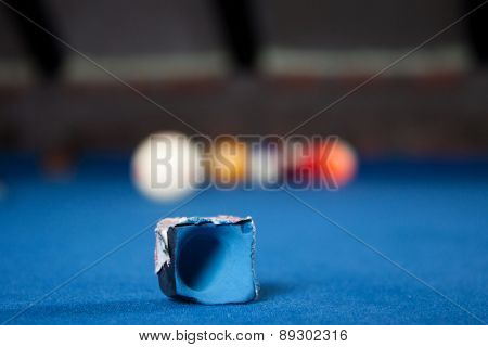 Billiard Balls / A Vintage Style Photo From A Billiard Balls In A Pool Table. Noise Added For A Film
