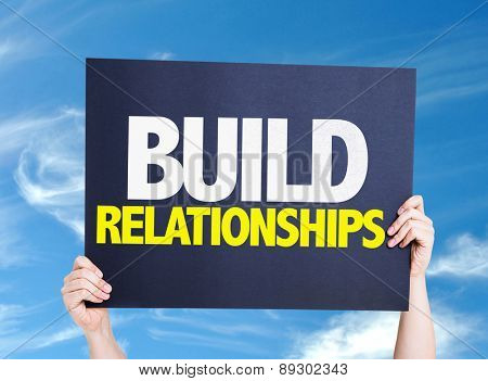 Build Relationships card with sky background