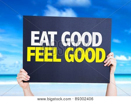 Eat Good Feel Free card with beach background