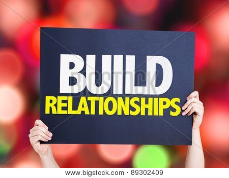 Build Relationships card with bokeh background