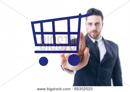 Business man pointing the text: Shopping Icon