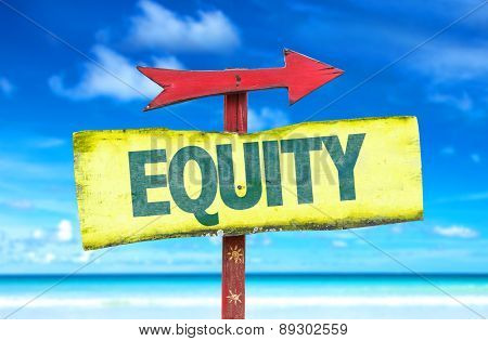Equity sign with beach background