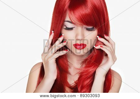 Makeup. Beautiful Girl With Red Long Hair. Fashion Model Isolated On White Background. Manicured Nai