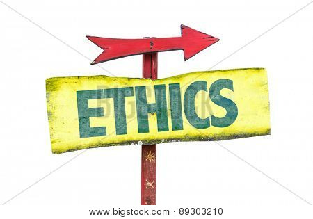 Ethics sign isolated on white