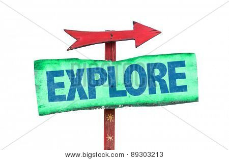 Explore sign isolated on white