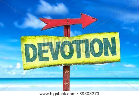 Devotion sign with beach background