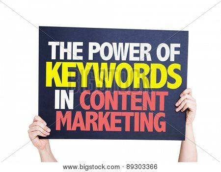 The Power of Keywords in Content Marketing card isolated on white