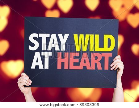 Stay Wild At Heart card with heart bokeh background