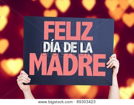 Happy Mothers Day (in Spanish) card with heart bokeh background