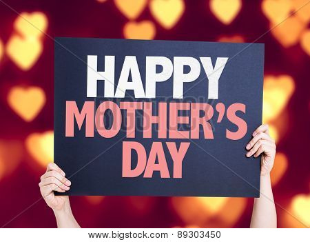 Happy Mothers Day card with heart bokeh background