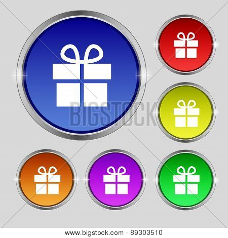 Gift Box Icon Sign. Round Symbol On Bright Colourful Buttons. Vector