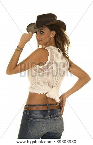 Cowgirl In White Top With Hat From Back