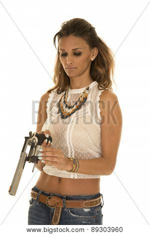 Cowgirl In White Top With Revolver Chamber Open