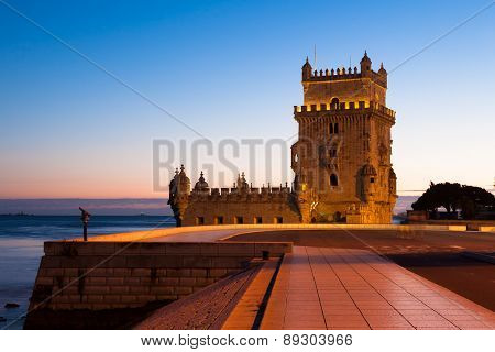 Belem Tower - Torre De Belem At Night In Lisbon, Portugal