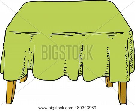 Table with Green Tablecloth
