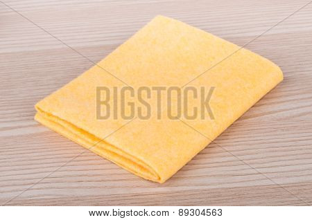 Yellow Soft Absorbent Doormat On Table