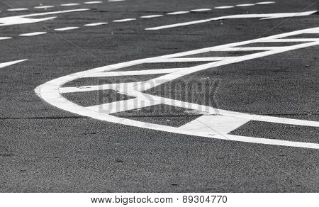 White Lines Over Dark Gray Asphalt, Road Marking