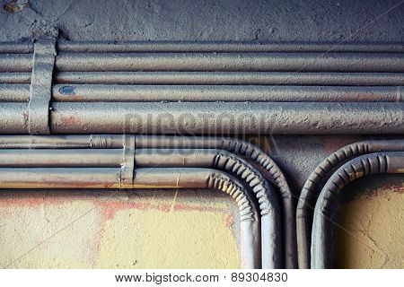 Group Of Bent Vintage Electrical Conduits