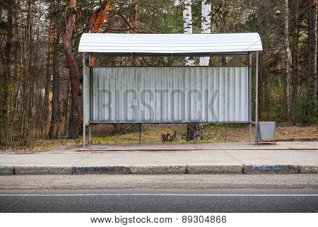 Small Empty Bus Stop Building On The Roadside