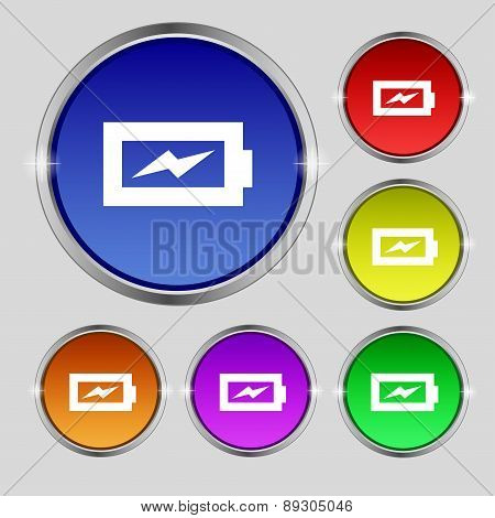Battery Charging Icon Sign. Round Symbol On Bright Colourful Buttons. Vector