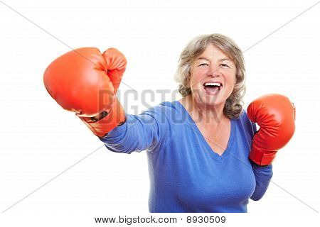 Woman With Boxing Gloves Smiling