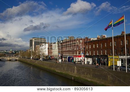 Pride Flags Flying Over Aston Quay, Dublin