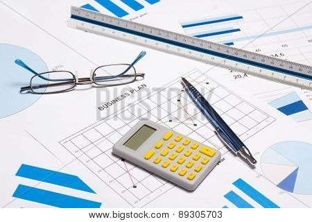 Business Objects - Graphs, Charts, Pen And Calculator