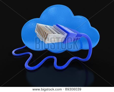 Cloud and computer cables (clipping path included)