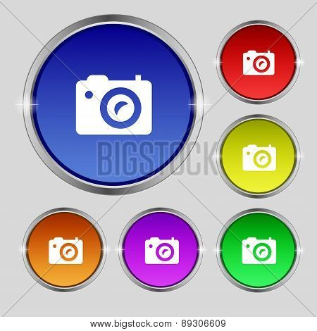 Digital Photo Camera Icon Sign. Round Symbol On Bright Colourful Buttons. Vector