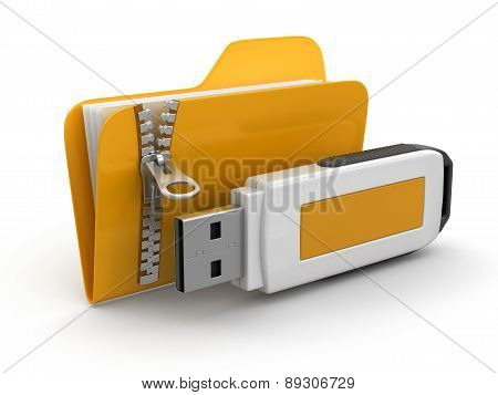 Folder with zipper and USB flash