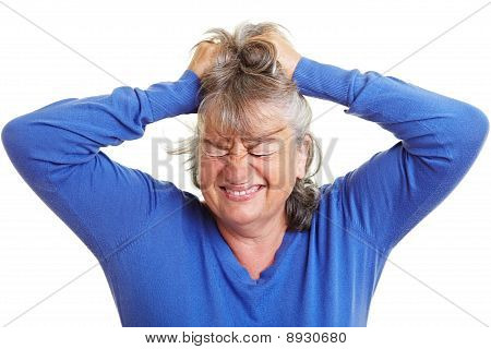 Retired Woman Pulling Her Hair