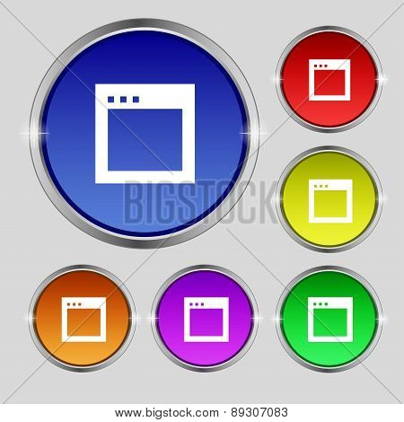 Simple Browser Window Icon Sign. Round Symbol On Bright Colourful Buttons. Vector
